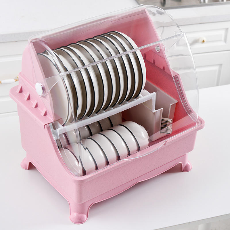 Morden Plastic dish rack with cover square plate dish rack pink