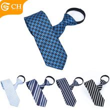 Wholesale Mens Lazy Neckties Polyester 7CM Zipper Ties To Match Shirts