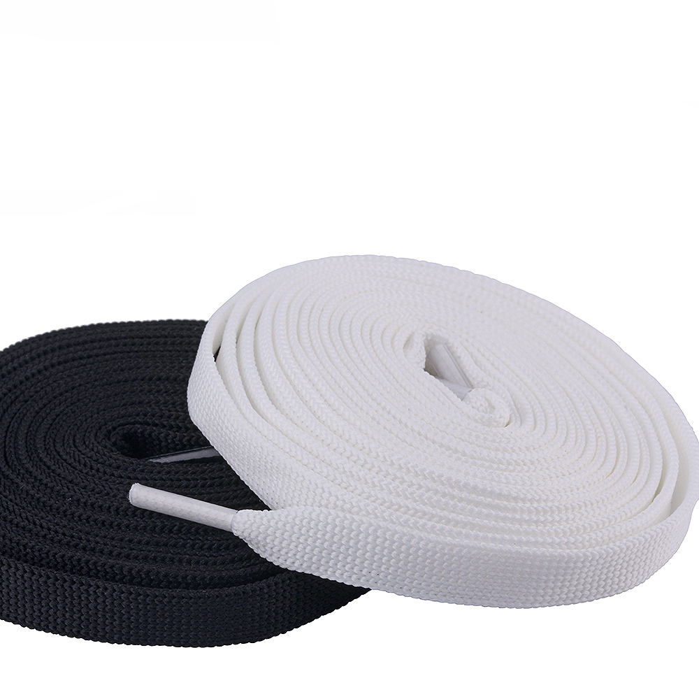 10mm Flat Shoe laces Classic Black White Shoe Laces 100cm long Sneaker Shoe Laces