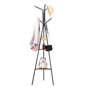 Entryway Coat Rack Stand Metal Coat Tree with 2 Shelves  Premium Coat Holder for Clothes  Hat  Bag  Purse  Umbrella  Vintage