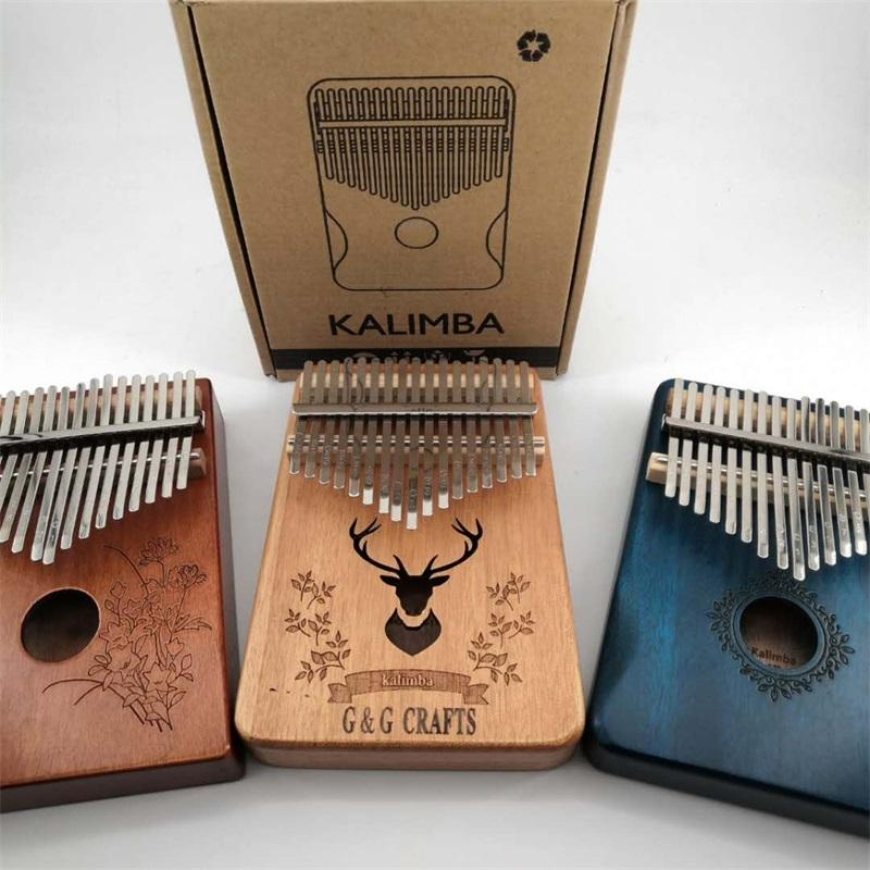Wholesale Wooden Thumb Piano Musical Instrument Toy 17 Key Kalimba
