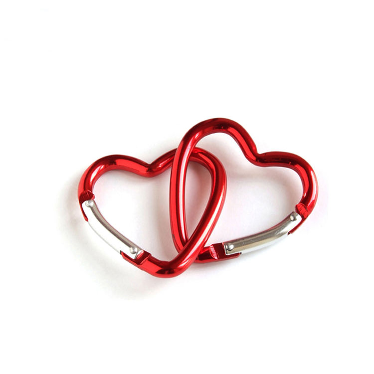 Aluminum heart shaped carabiner for keychain