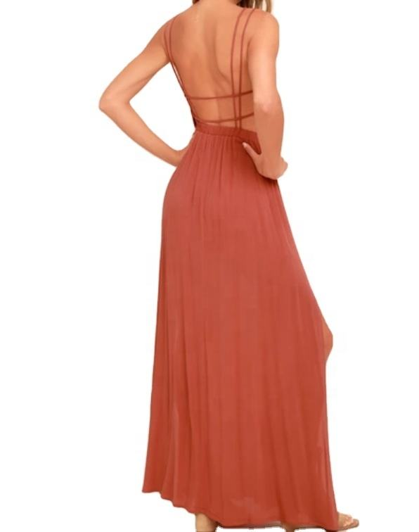 wholesale solid casual hawaiin beach style plunging V neckline maxi dress with a strappy open back