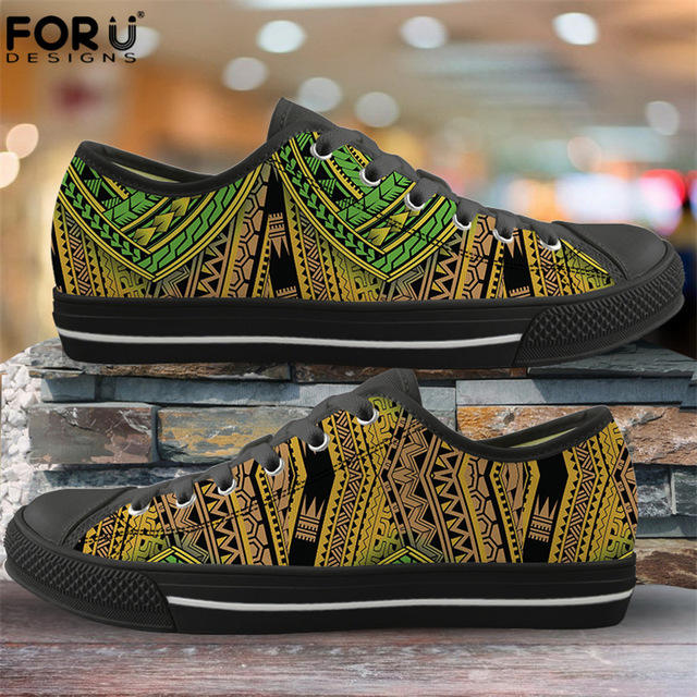 Flats Vulcanize Shoes Polynesian Traditional Tribal Print Black and White New Trend Men's Sports Casual Shoes Sneakers