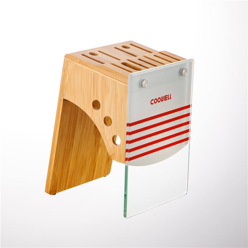 9 Slot Universal Knife Block Knives Large Bamboo Wood Knife Block without Knives - Countertop Butcher Block Knife Holder