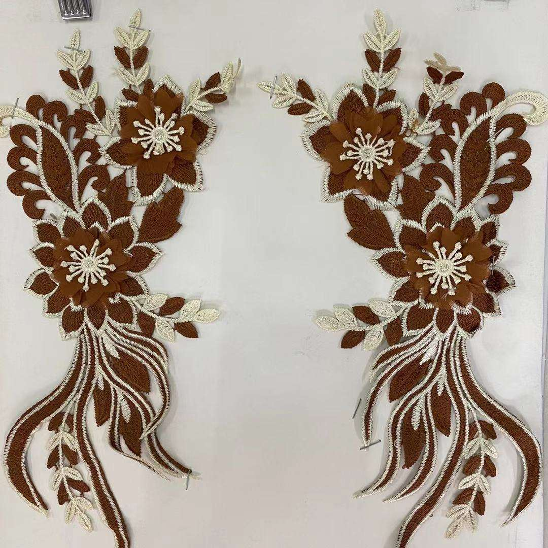 Embroidery 3d Flower Pair Polyester Cut-out DIY Accessories Bridal Wedding Dress Lace Applique Patches