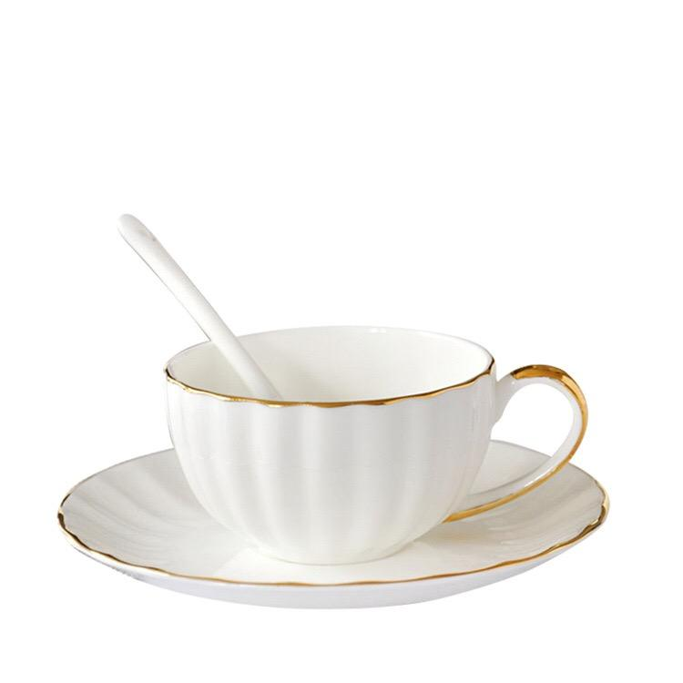 New Bone China White Cup And Saucer With Gold Rim Gray Color Ceramic Tea Cup Saucer Sets Porcelain Europe Coffee Mugs For Home