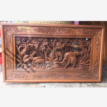wood carving crafts of deer  carved  wood wall paneling solid wooden panel