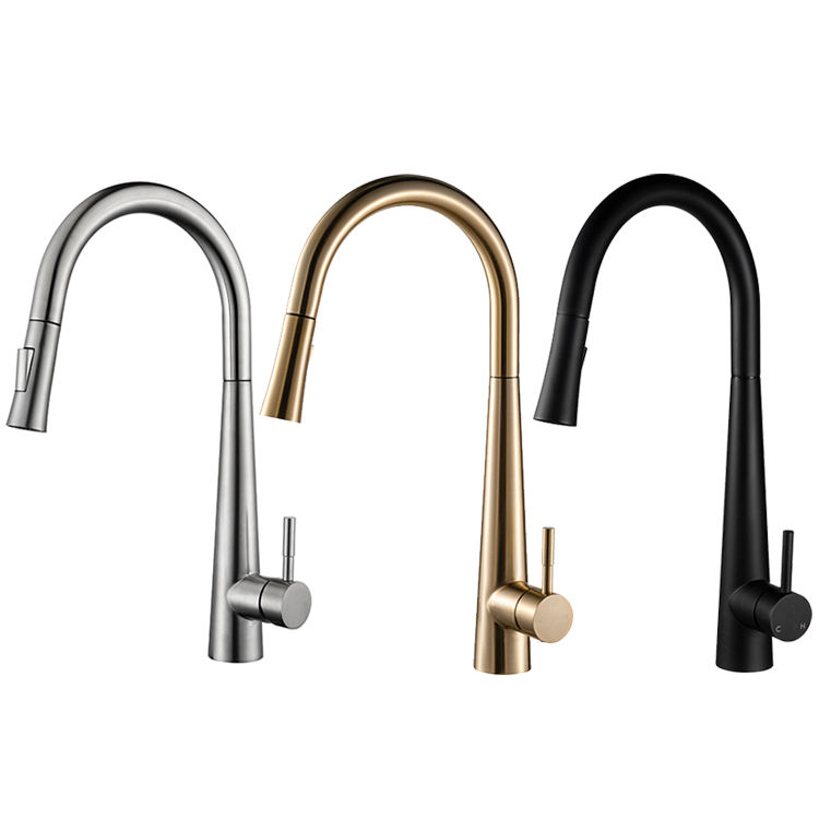 K1 MB Single Handle Single Hole Matte Black Pull Out Spring Kitchen Faucet With Faucet Hole Cover Kitchen Sink Faucet For Sink