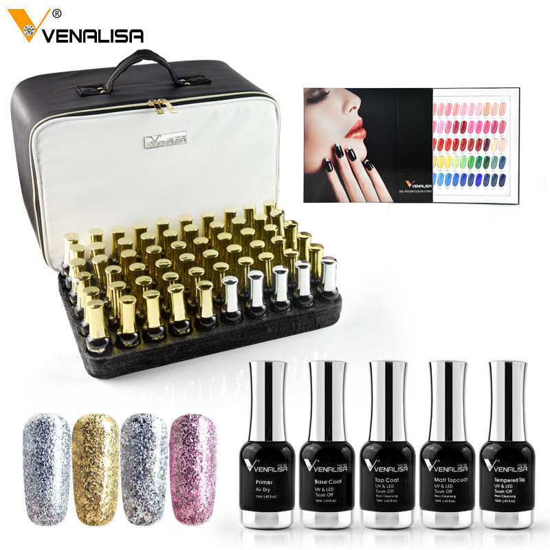 VENALISA Gel Polish Hot Sale Set 12ml 120pcs/kit Manicure Nail Art Salon UV Gel Base Coat Long Wear No-wipe Topcoat Kit