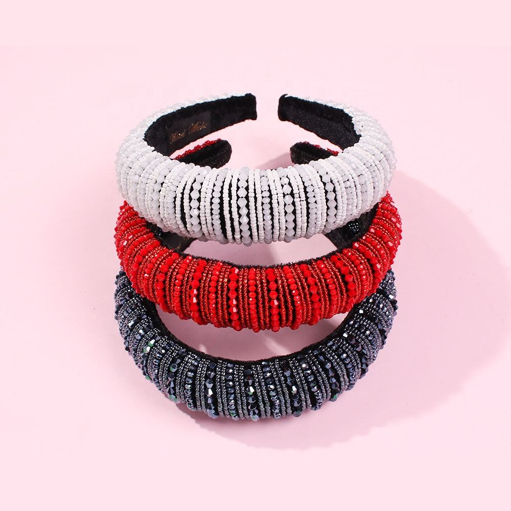 2020 New Arrival Fashion Womens Sponge Padded Headband Beaded Wide Hairband Hair Accessories