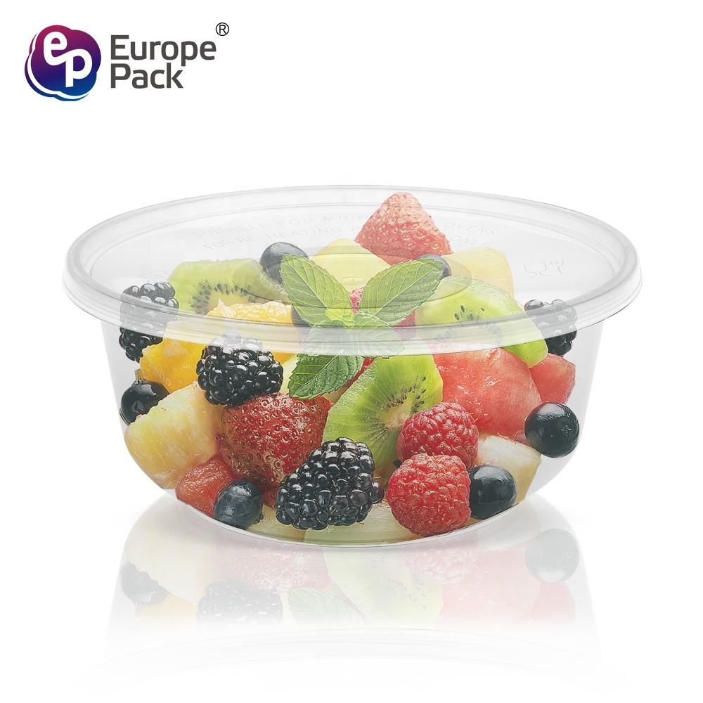 Most popular round transparent 360ml plastic container with lids wholesale