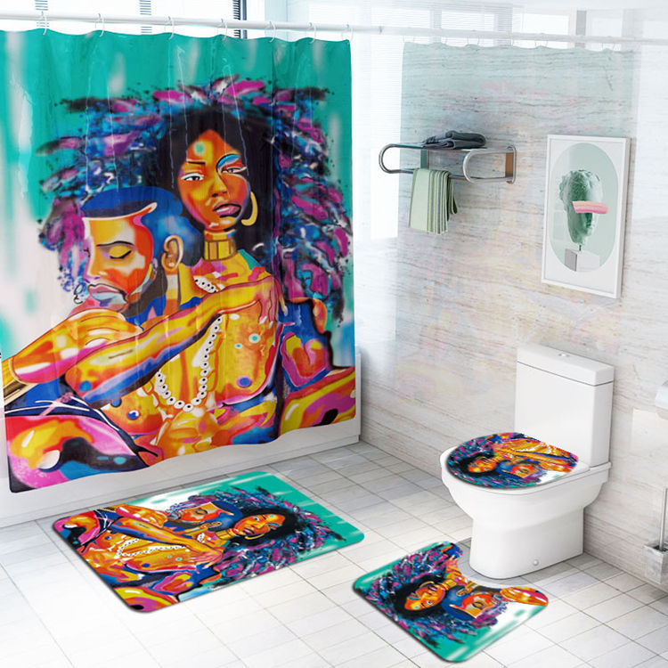2019 polyester printed African American black men and women shower curtain set, bathroom rug and toilet cover