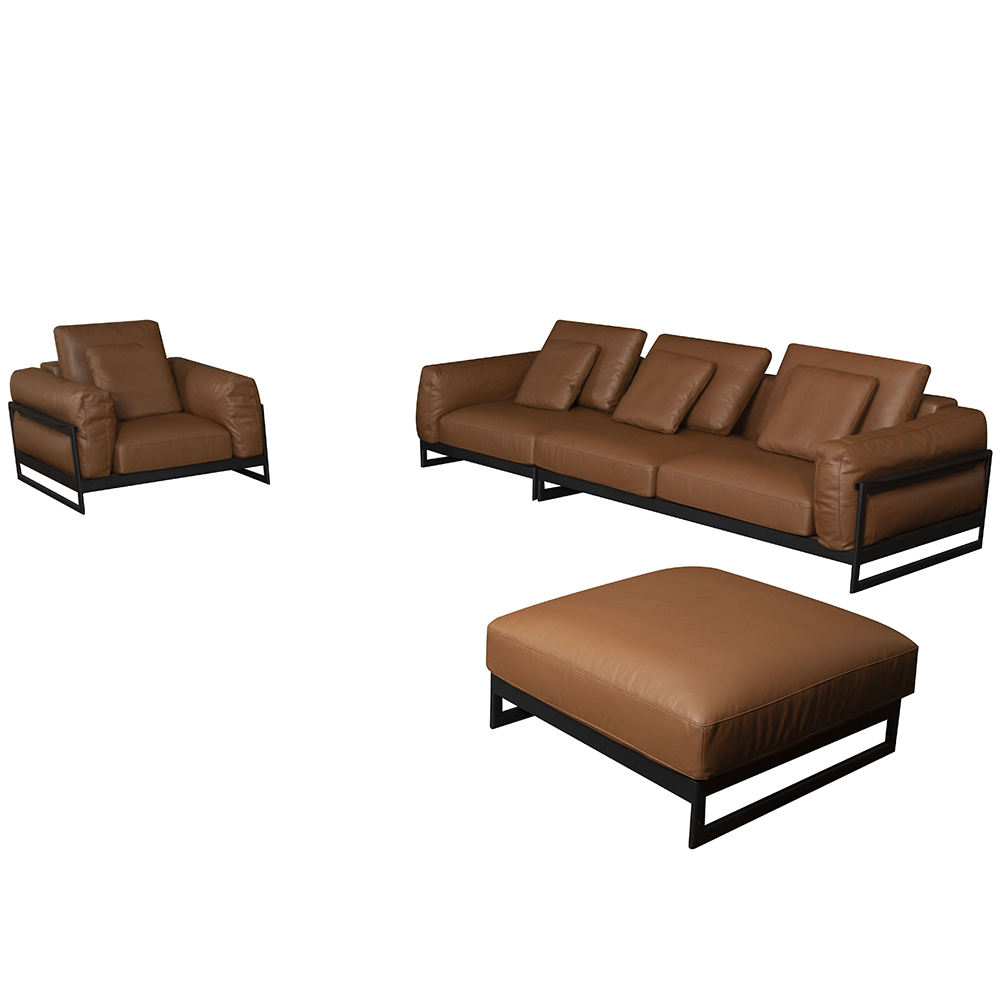 Monaco sofa 3 seater brown metal frame leather sofa sectionals u shape sectional full grain leather sofa