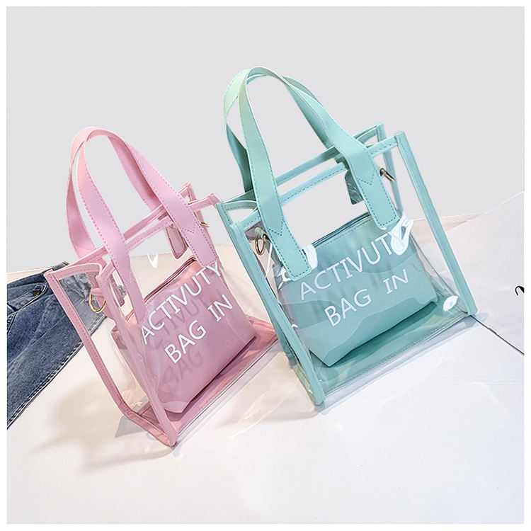 new fashion transparent pvc mother-in-law bag single shoulder slanting across small square bag handbag