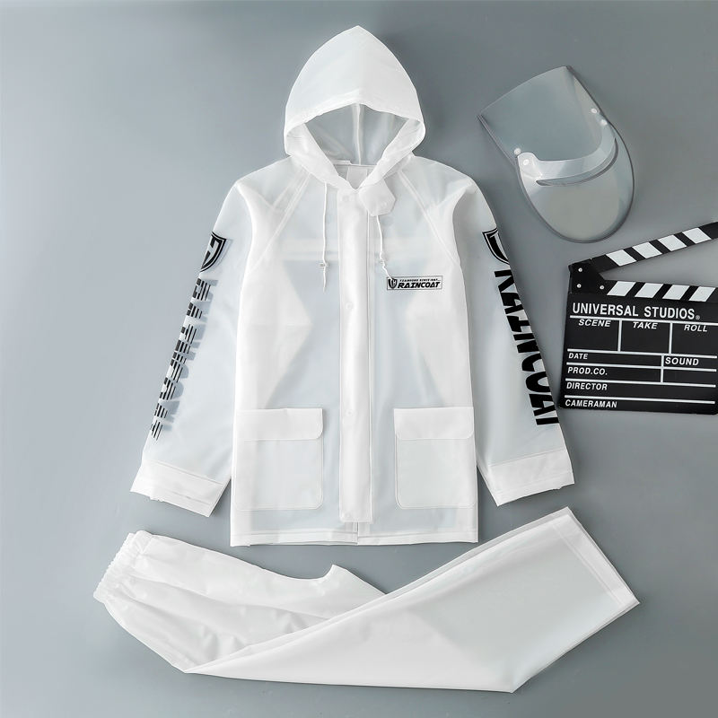 Men's Women's hooded PVC soft fishing transparent plastic waterproof raincoat jacket With Cuff