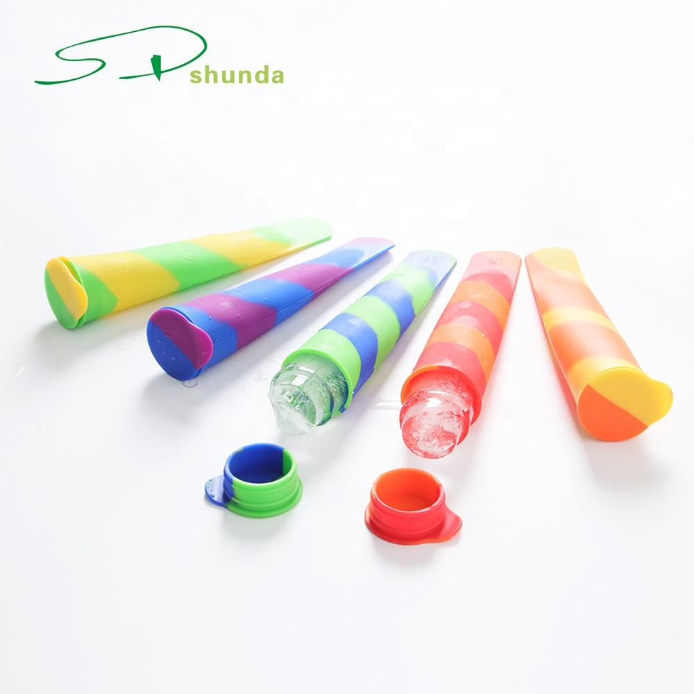 China Supplier BPA Free Colorful Food Grade Custom Silicone Ice Tray Popsicle Ice Cream Tubes Pop Mold Lolly Mould