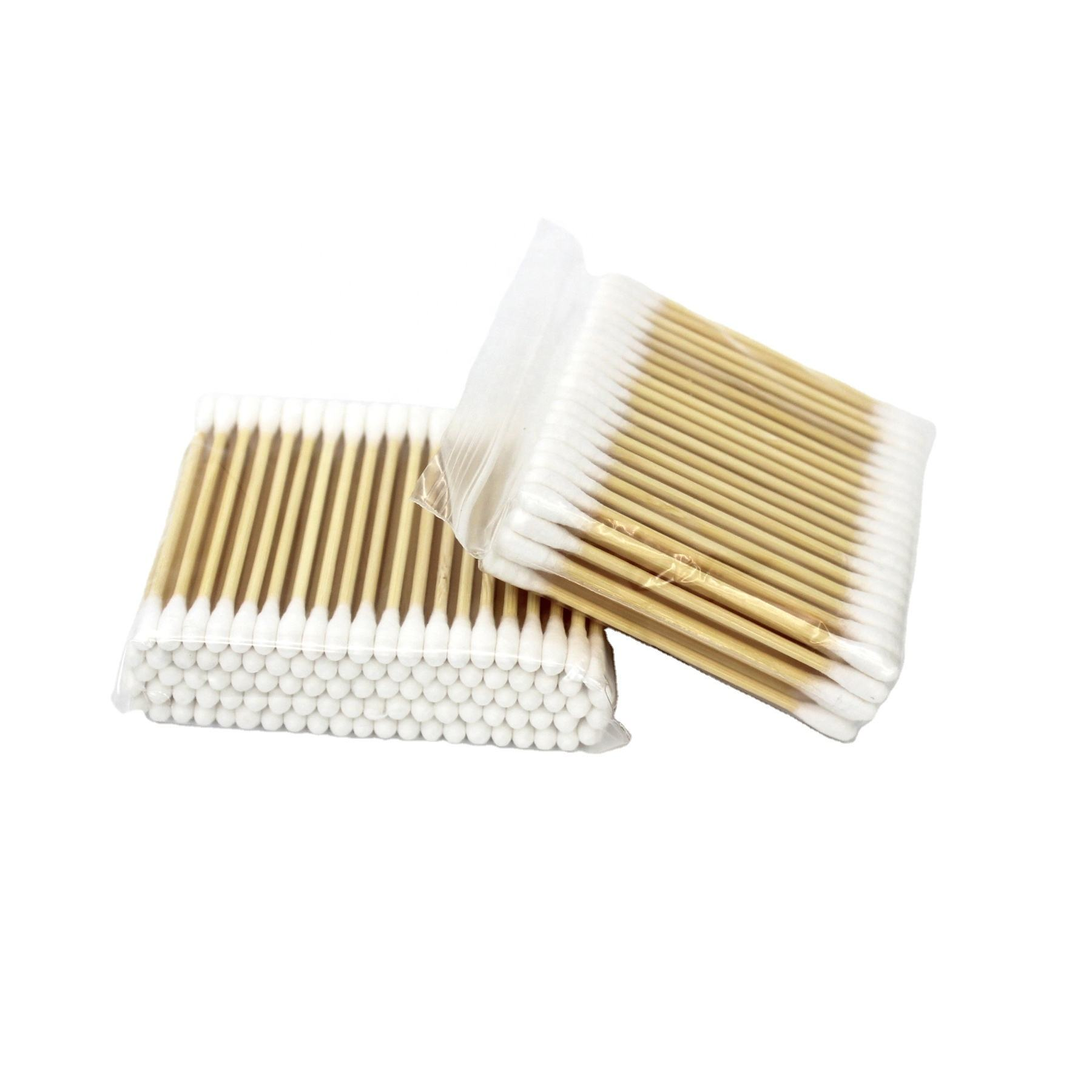 plastic paper wooden stick baby ear buds wooden cotton swabs