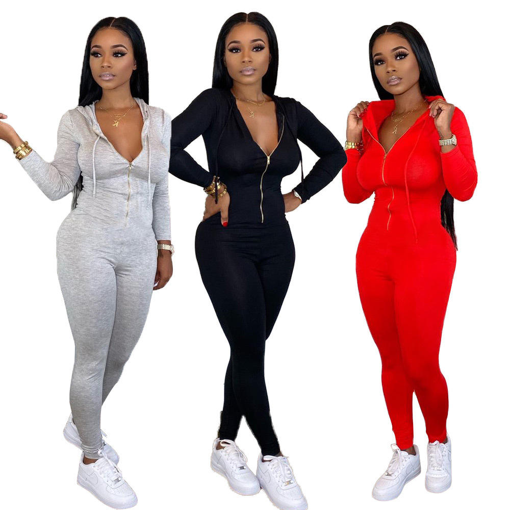 2020 Fall Clothing for Women Hooded Jumpsuits and Rompers Women Jumpsuit Sweatpants Women Jogging Suits Wholesale