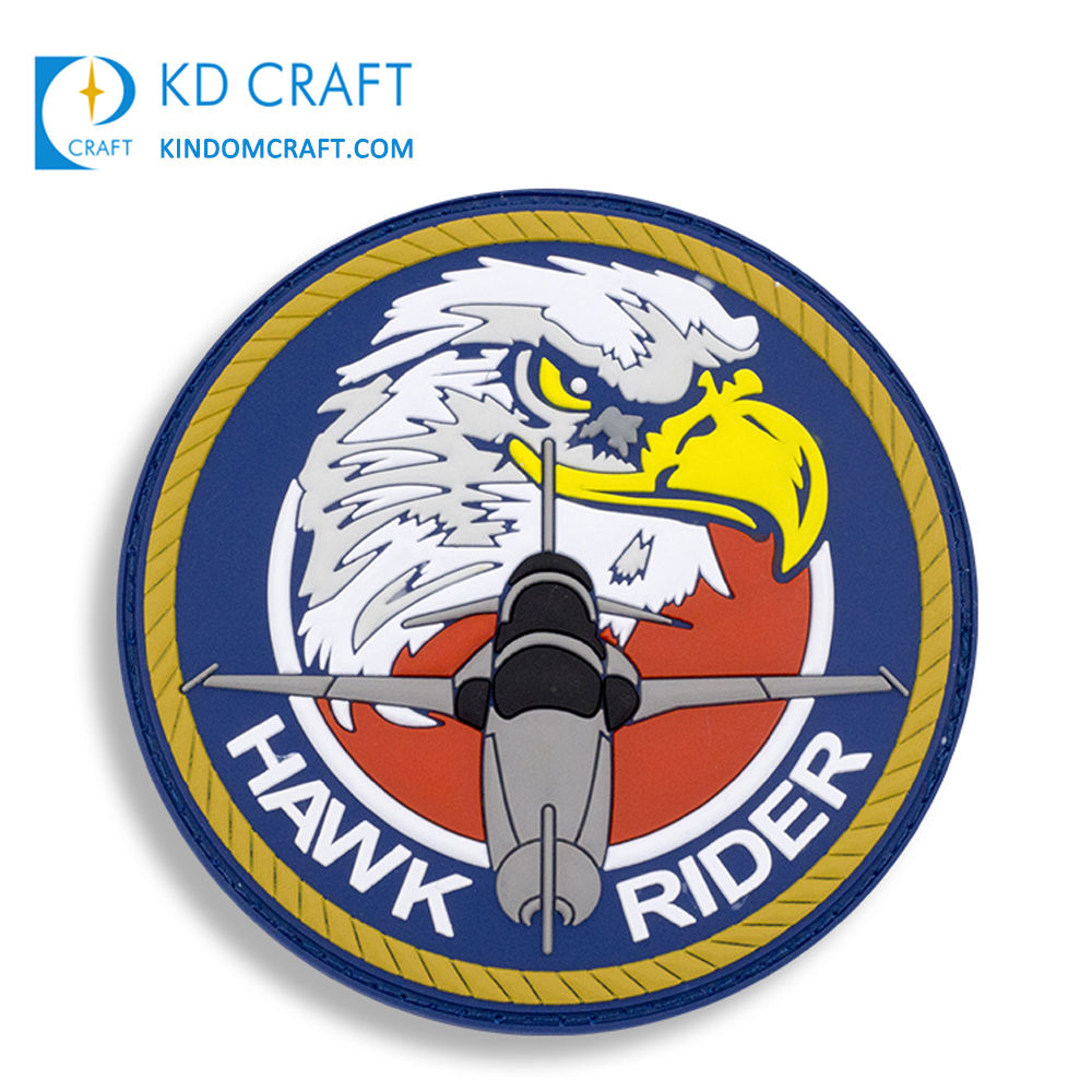 High quality custom heat transfer army squadron military rubber logo and badges plastic pvc us air force patches for sale