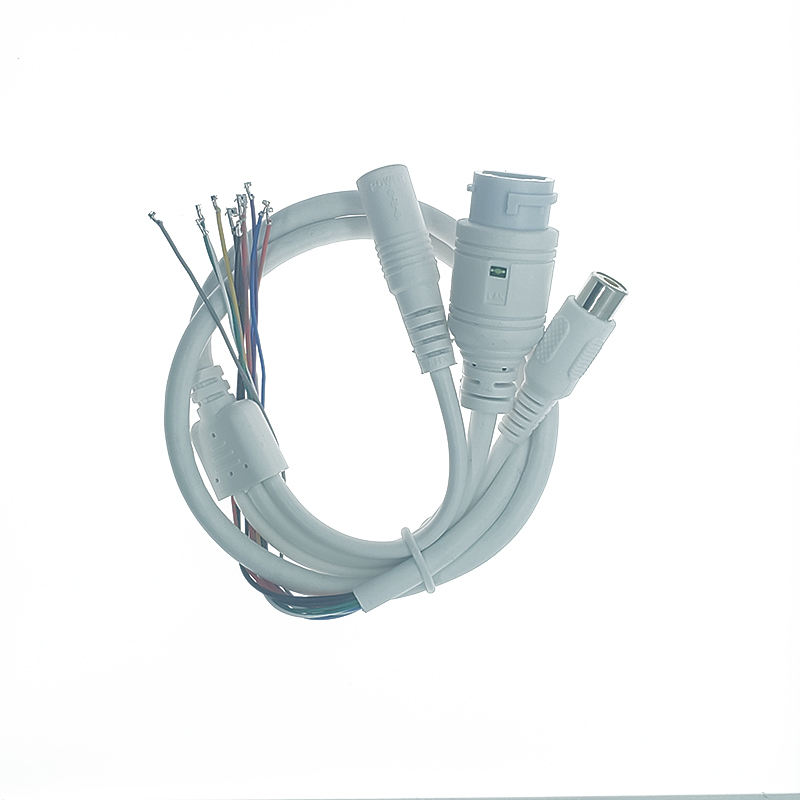 Waterproof POE RJ45 LAN cable and DC+RCA cable for CCTV IP camera board module with weatherproof connector