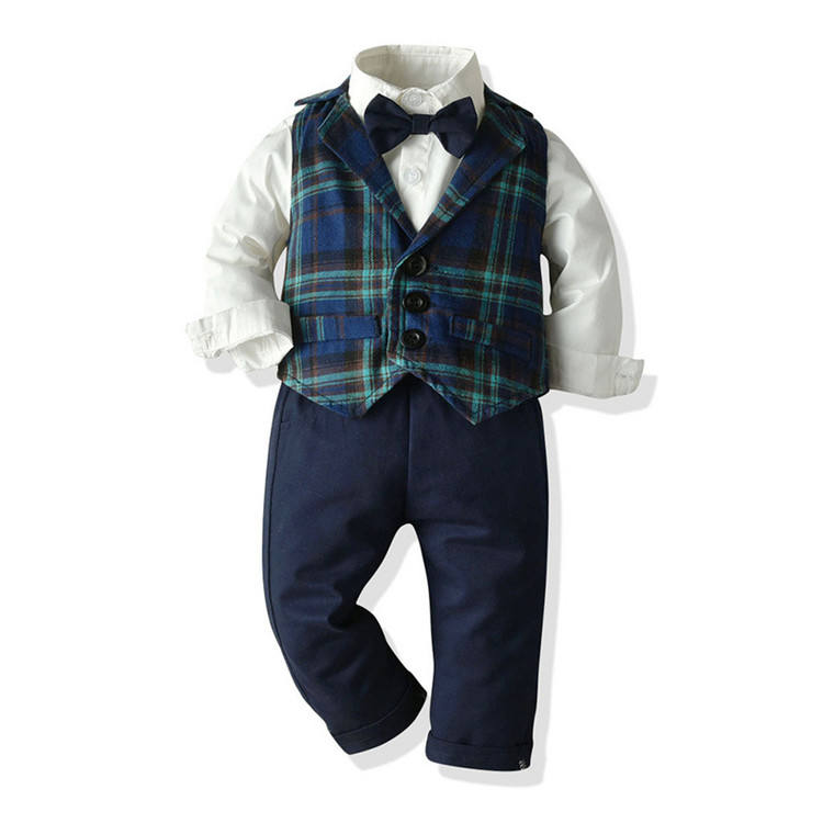 spring new toddler boys clothes gentleman sets kids clothes for long sleeves shirt+plaid waistcoat + suspender pants +bowtie
