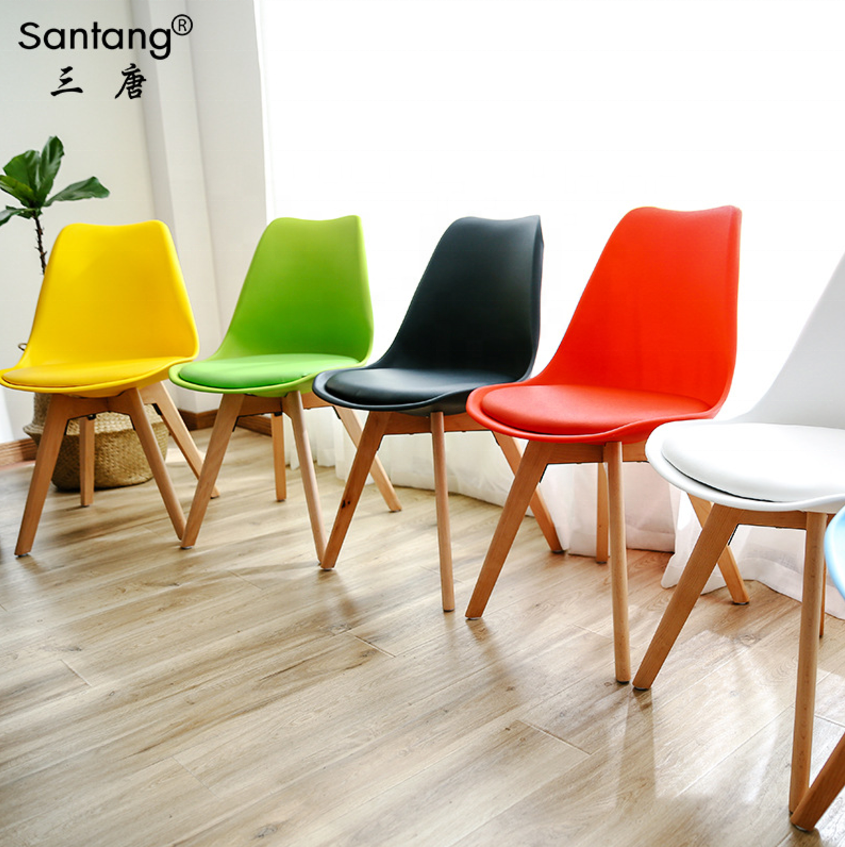 free sample morden tulip chair Wholesale cheap dining room chairs home furniture new design Wooden Legs plastic dining chair