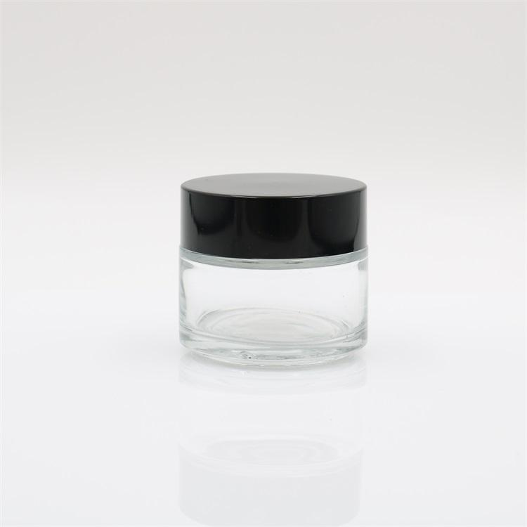 50ml 100ml Round Face Eye Cream Clear Glass Cosmetic Jar with Black Lid and Sealing Disc