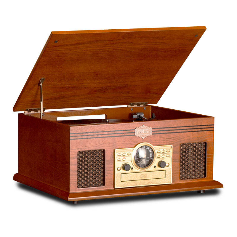 FM Analog Tuning Turntable w/ CD Player, Aux-in, Line-out, BT function and Built-in Stereo Speakers wooden turntable player