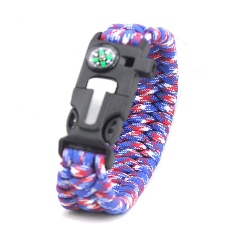 Custom Kleur 4 In 1 Multifunctionele Geweven <span class=keywords><strong>Wandelen</strong></span> Firestarter Fluitje Kompas Paracord Survival Armband