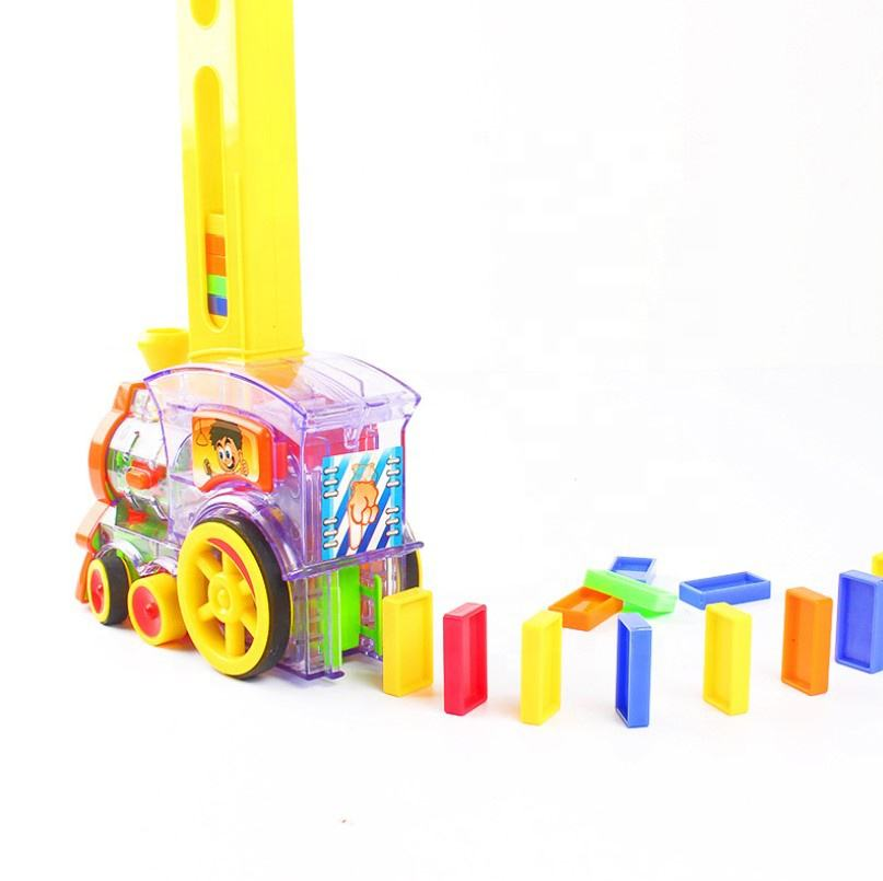 Domino Brick Electric Train 60pcs Colorful Sound lights Automatic Laying Dominoes Games Toys Set Gift for Boys Girls