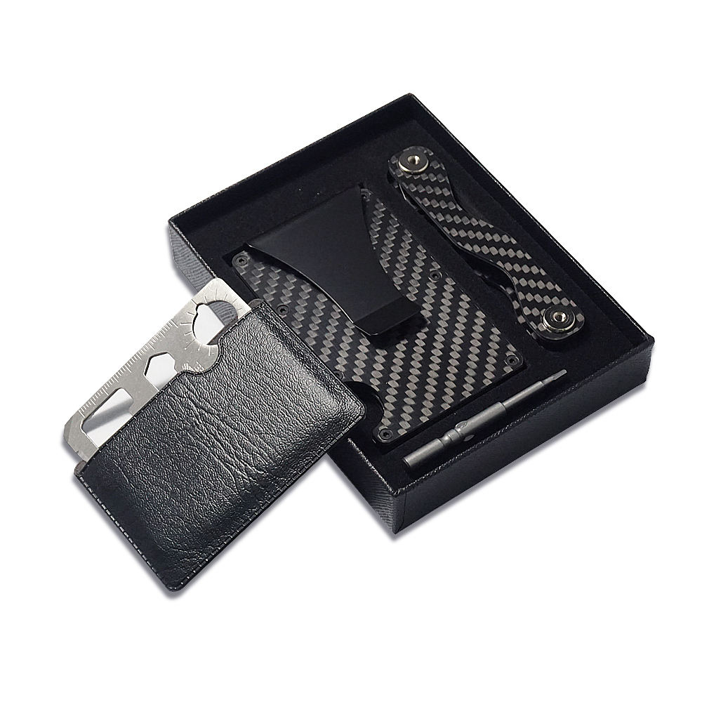 2020 new year gift kit Real Carbon Fiber Wallet, Slim Wallet & RFID Blocking Front Pocket card Wallet
