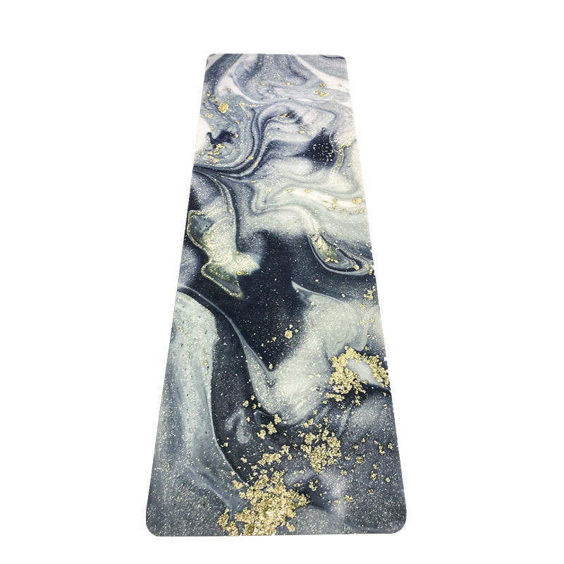 Wholesale Black Grey Gold Marble Custom Eco Friendly Anti Tear Rubber Suede Yoga Mat For Exercise