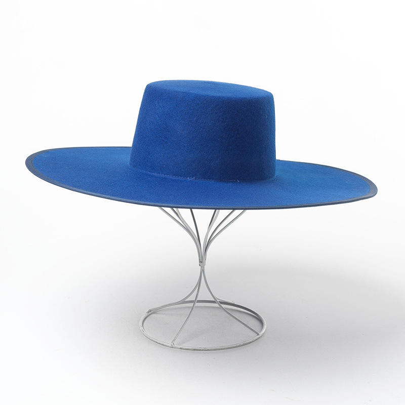 big brim wide trimmed wool felt blue fedora hat fashion hat for men and women