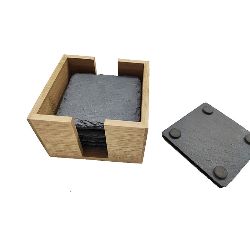 Dressed Natural Whisky Black Cup Tea Stone Slate Coaster With Wood Holder For Drink
