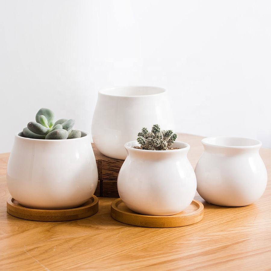 Custom mini white cheap plant pot bamboo tray small flower pot ceramic succulent pot with saucer