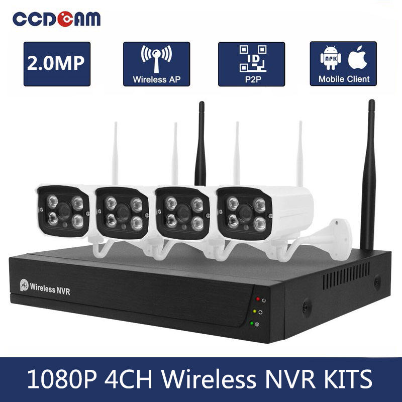 H.265 Wifi Nvr Kits 2mp 1080P Wireless Cameras Ip Video Recorder For CCTV Security