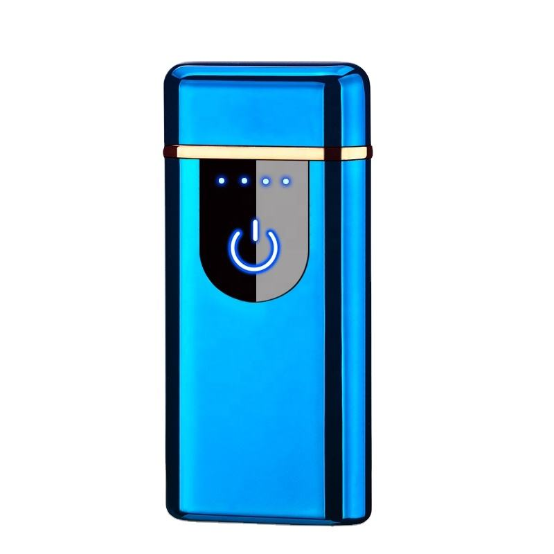 Rechargeable Dual Arc Plasma Beam Lighter Portable Electric Windproof Lighter Battery Indicator Touch Ignition lighter