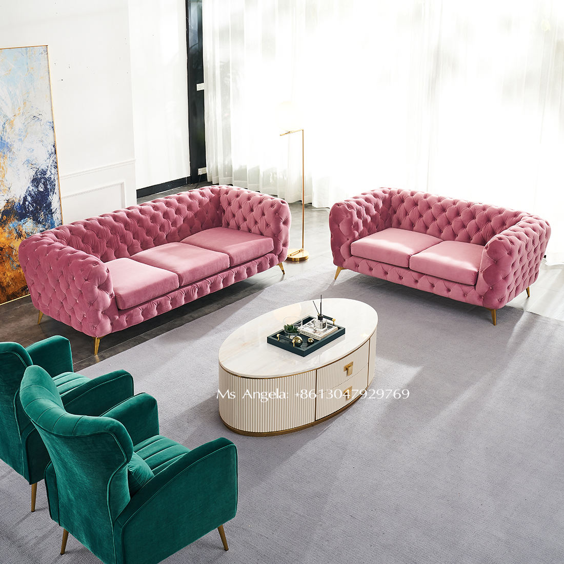 modern luxury furniture stainless steel leg pink velvet chesterfield sofas living room couch tufted sectional sofa