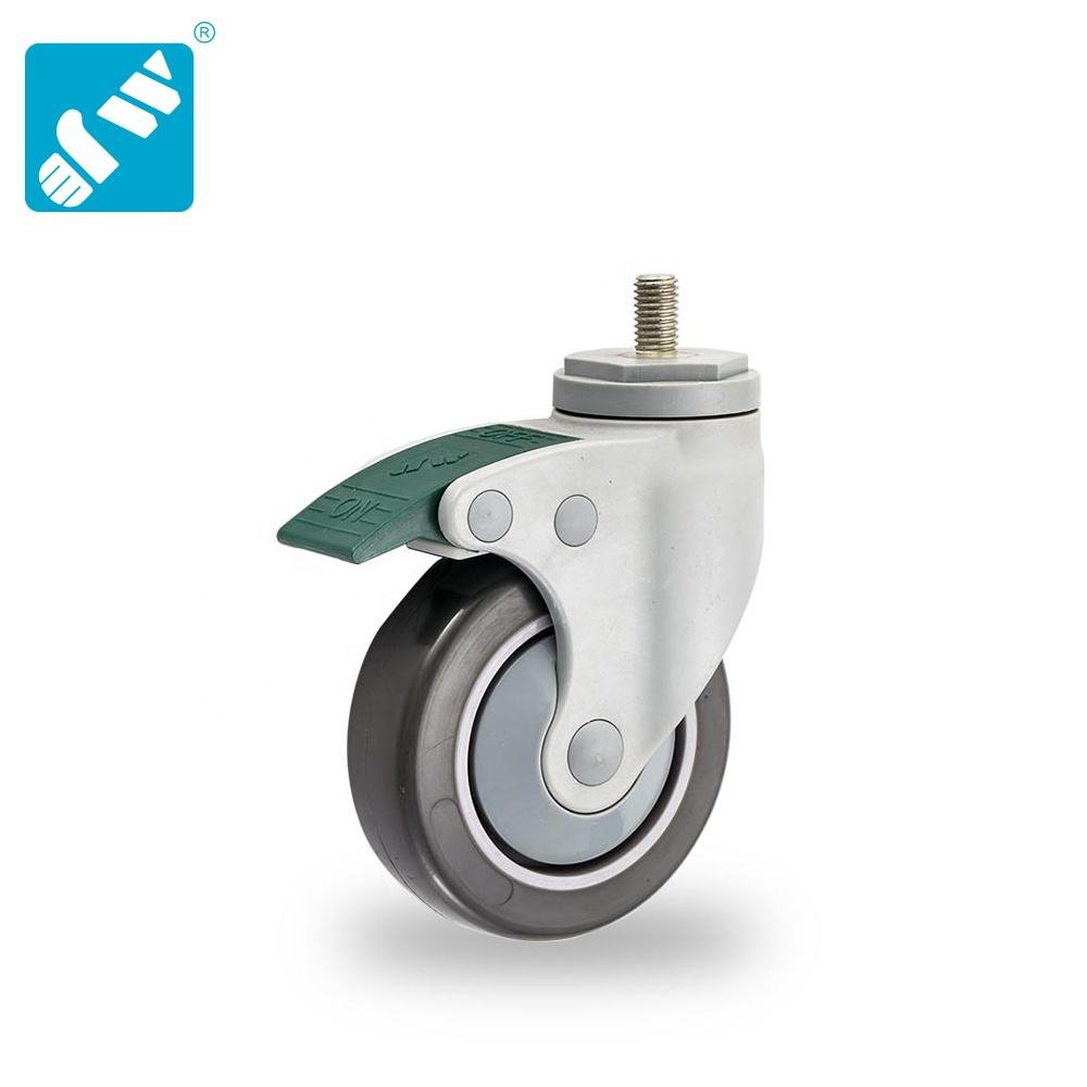 3 inch diameter 1-1/4 inch width plastic frame swivel directional lock pu on pp hospital bed medical caster wheel