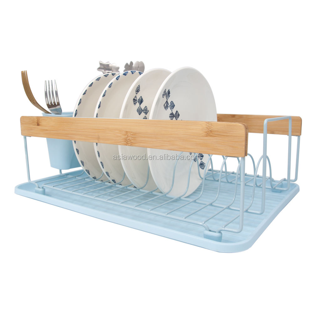 New style pp plastic kitchen bamboo handle dish rack drainer holder