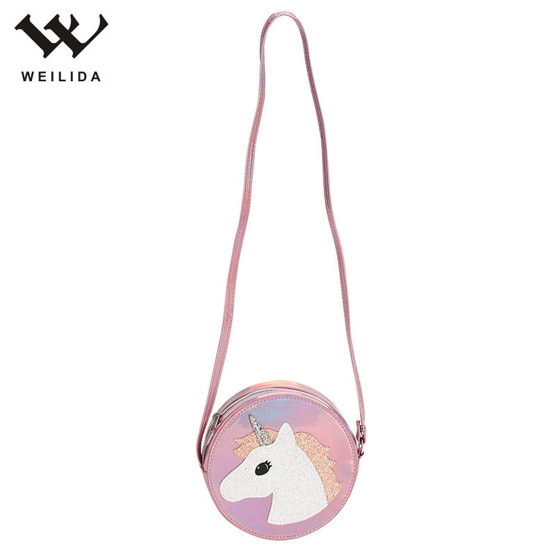 Glitter Laser PU Leather Strap Sling Creative Custom Crossbody Purse Bag Kids Mini Shoulder Bag