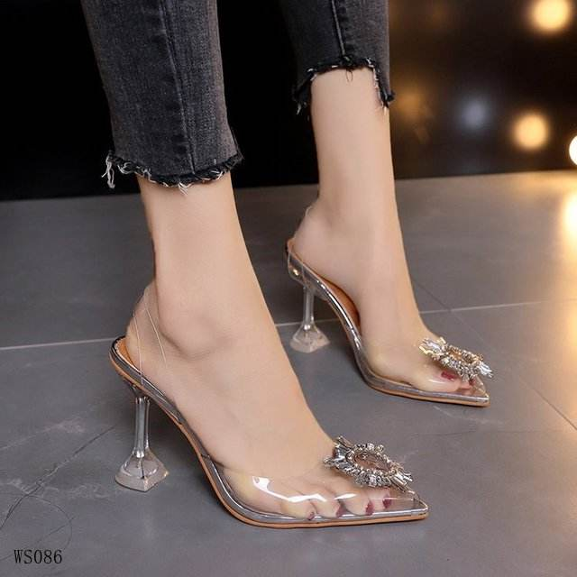 new rhinestone buckle transparent PVC sandals ladies social banquet wild high heel women's shoes