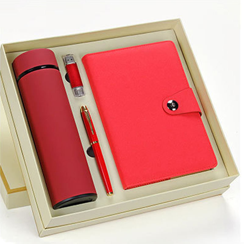 Cheap Promotional Giveaways Valentine Gift Notebook, Pen,U Disk,Vacuum Cup Business Gift Set