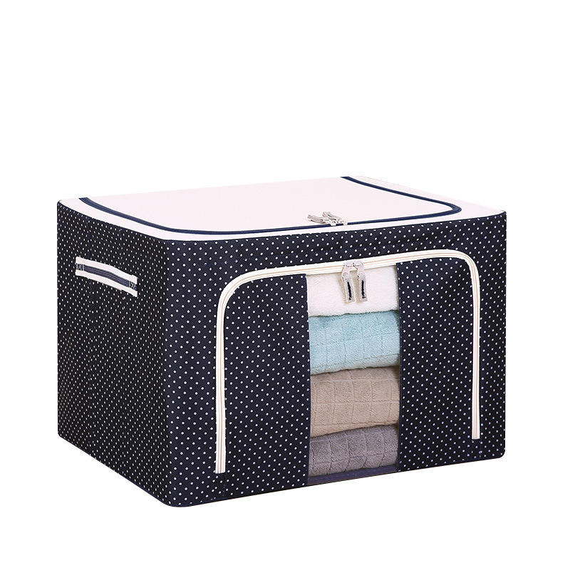 Storage Box Oxford Cloth Steel Frame Shelf Quilt Clothing Blanket Pillow Shoe Holder Container Organizer