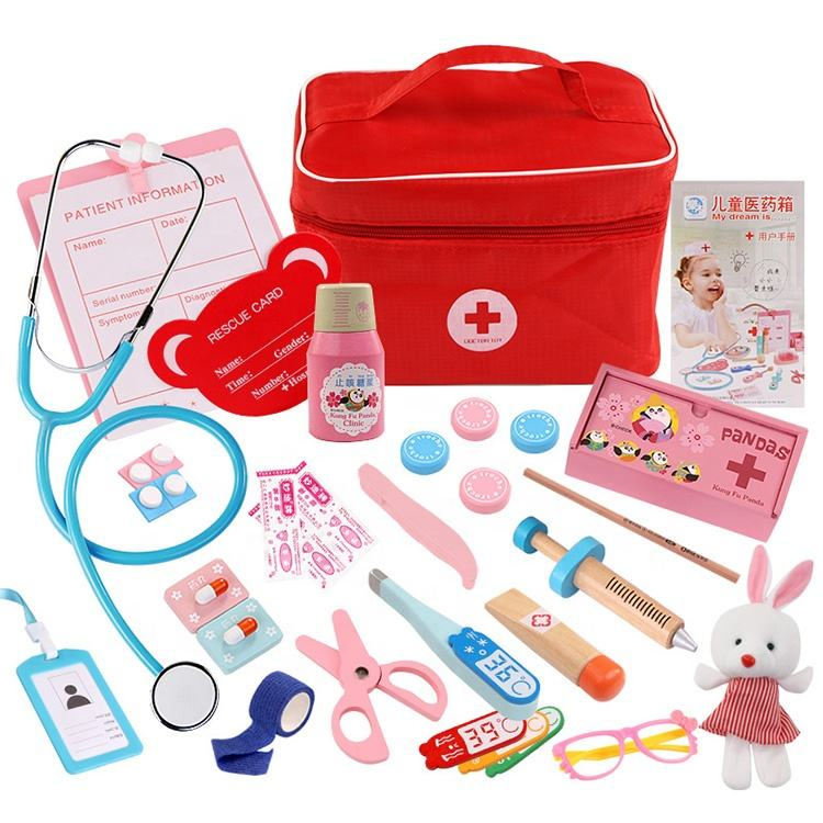 2019 Pretend Play Doctor Set Nurse Injection Medical Kit Role Play Classic Toys Simulation wood doctor set toy