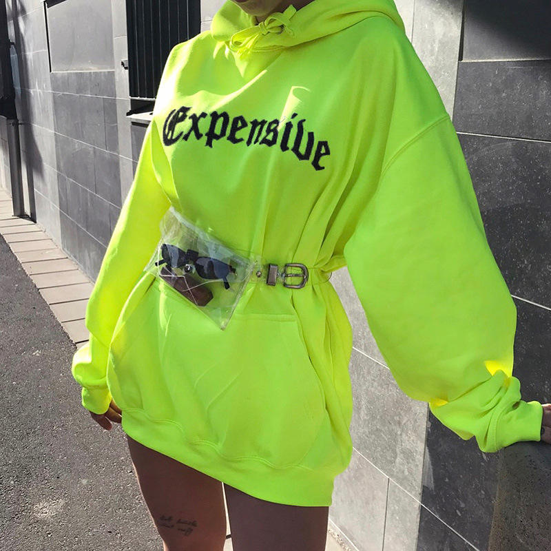 Autumn loose Front Pocket Custom Logo Reflective Pullover Women's Oversized Hoodies