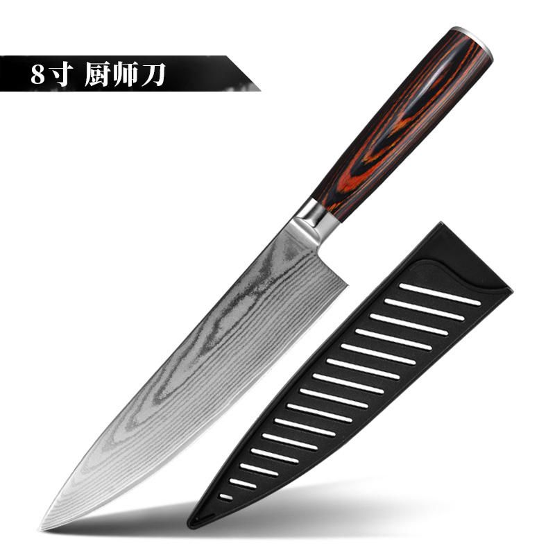 Konoll 67 Layers 8 INCH Japanese Damascus Steel Kitchen Chef Knives Color Wood Handle Slicer knife