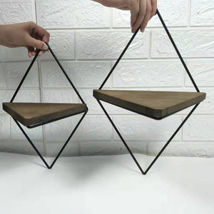 Rustic Wood Triangle Hanging Shelves with Black Metal Frame, foldable metal frame ,Set of 2
