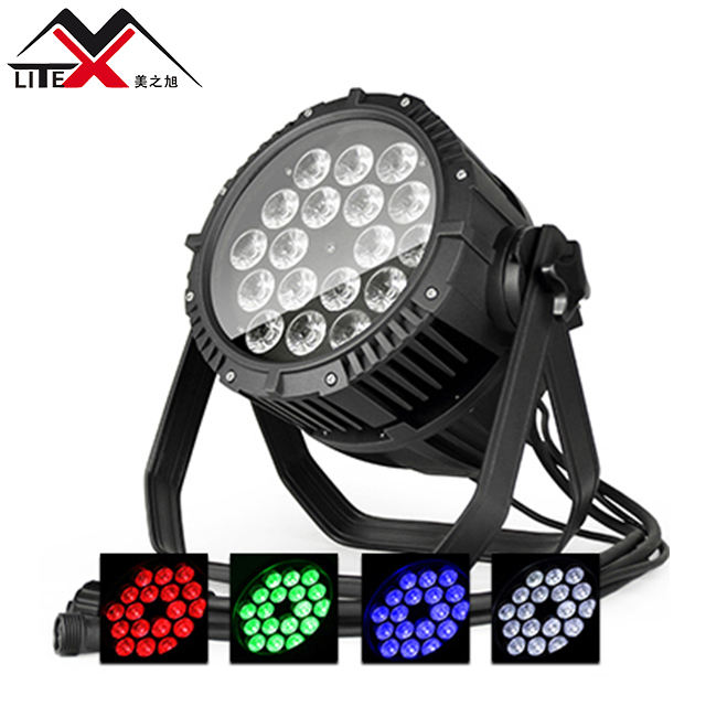 Newest outdoor dj par led stage light projector dmx IP65 10W*18pcs RGBW 4in1 Aluminium body led waterproof par can light for Bar